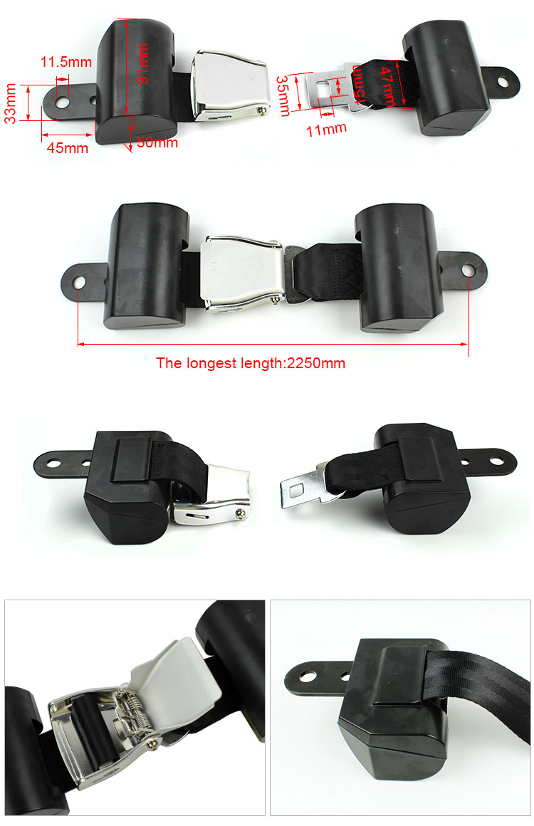 FEC027A Wheelchair Seat Belt with Double Retractor