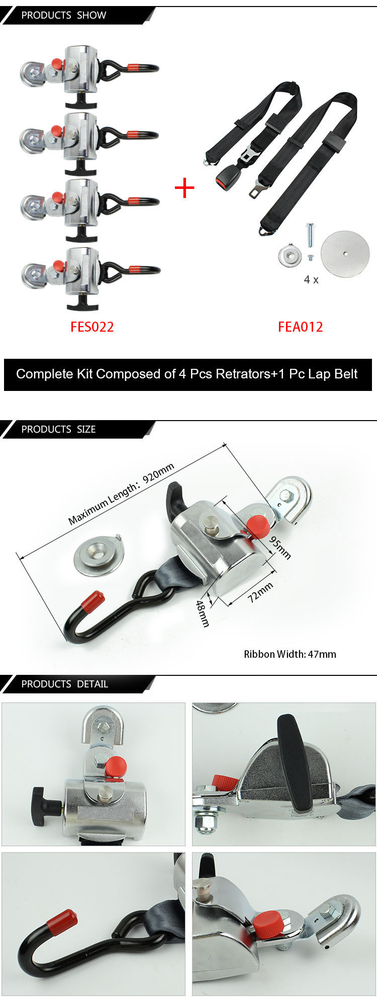 FES032 Standard Wheelchair Retractable Tie Down System