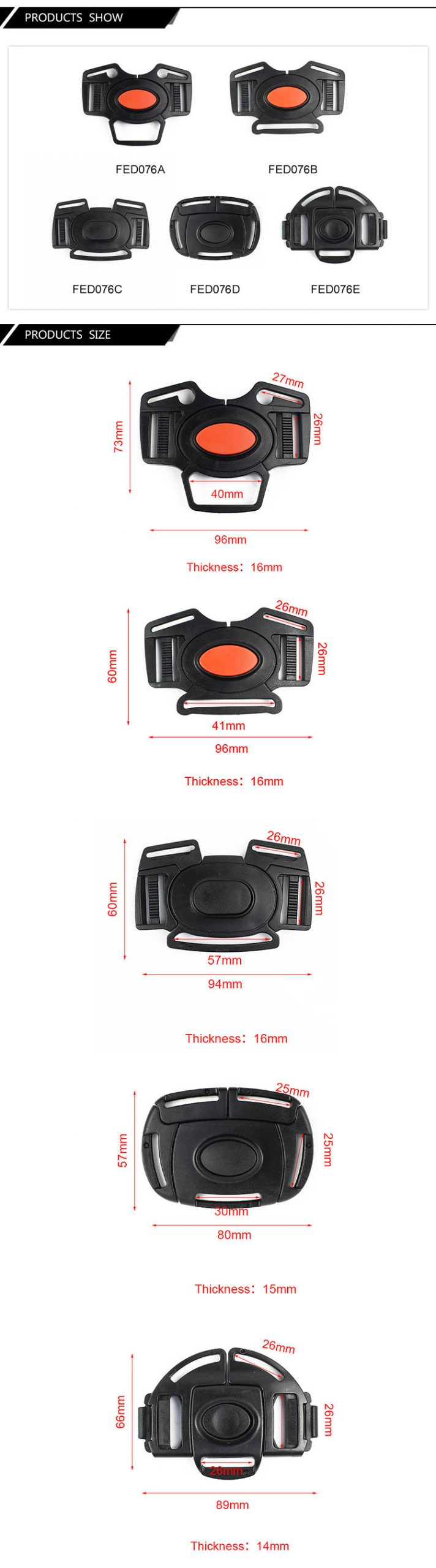 FED076 Car Safety Belt Clip Chest Buckle